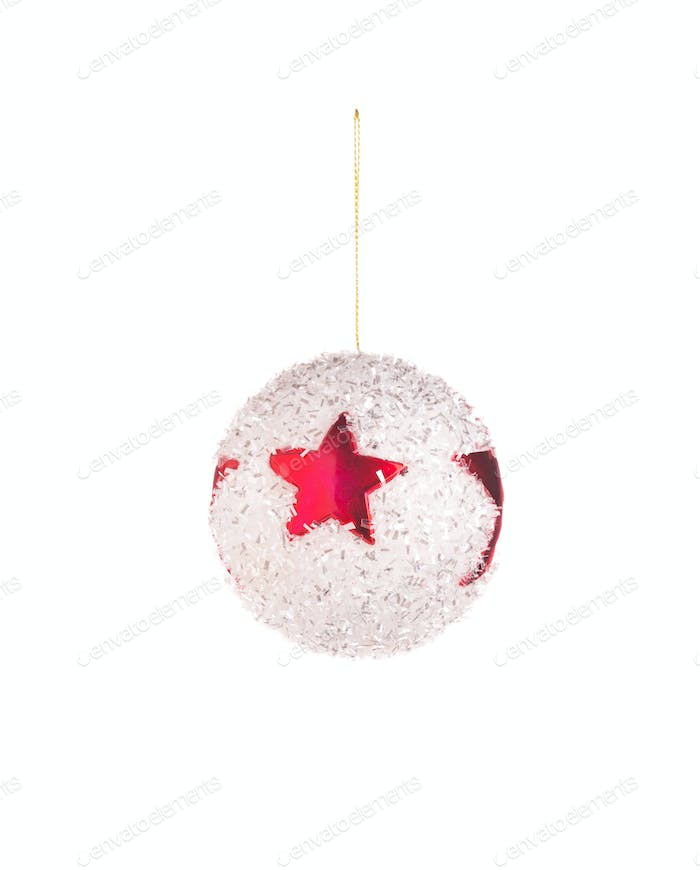 White christmas ball with the star.