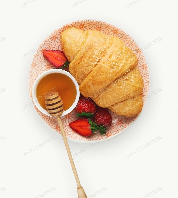 Tasty breakfast isolated on white background