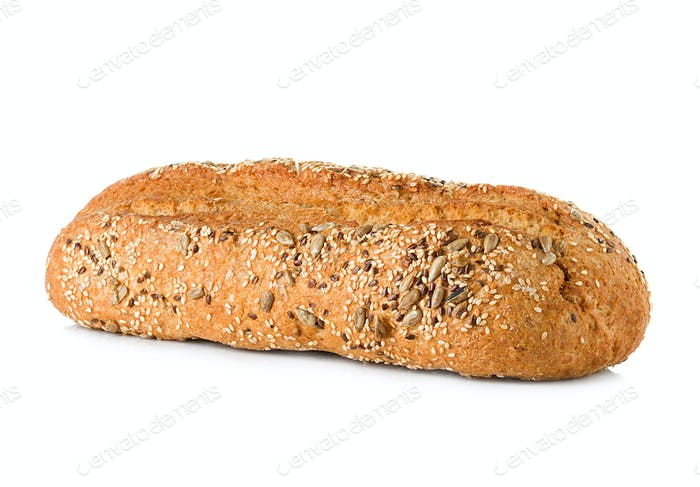 bread with bran isolated on a white background