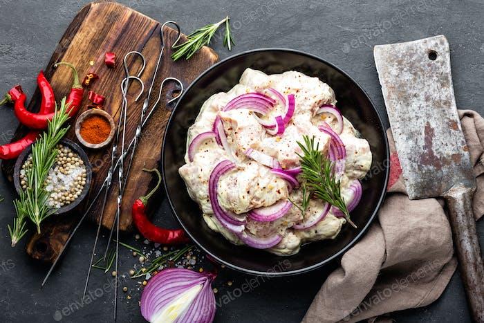 Shashlik marinated for grill