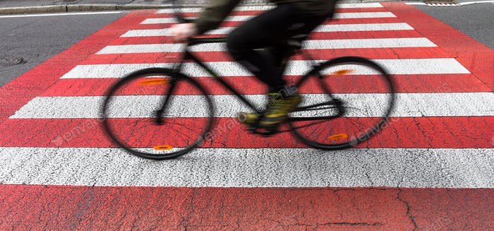 Blur bike on crosswalk