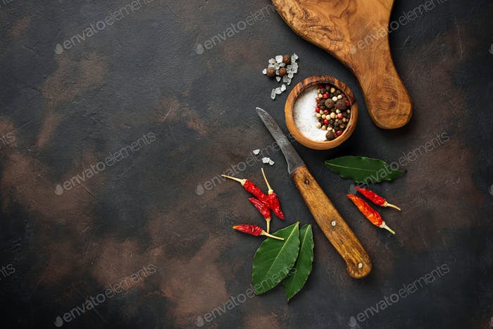 Cutting board with herbs and spices. Culinary background