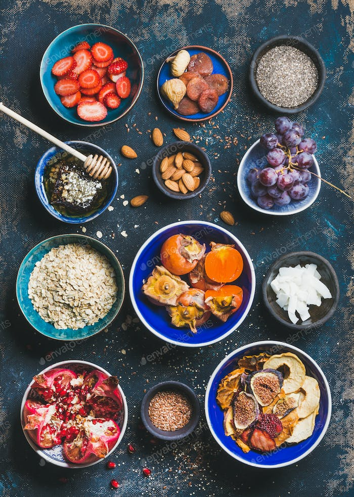 Fresh and dried fruit, chia seeds, oatmeal, nuts, honey
