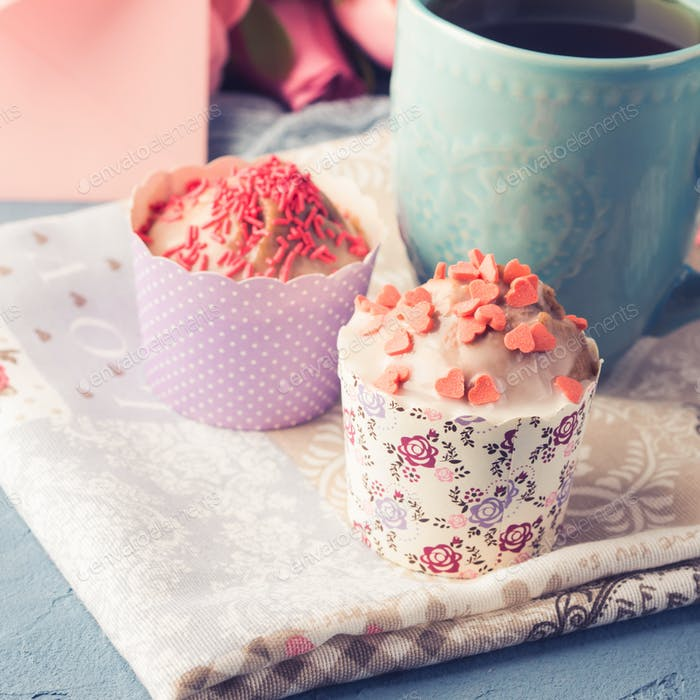 Mother's day Valentine concept muffins cup tea envelope