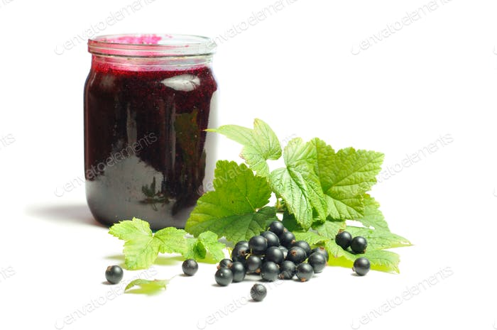 Health-giving vitamin, black currant on the white background