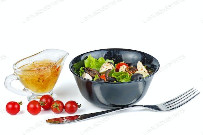 Fresh Greek salad in a bowl