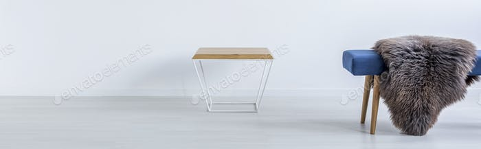 Table and bench with fur