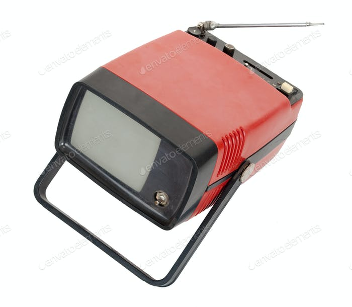 Vintage red portable TV