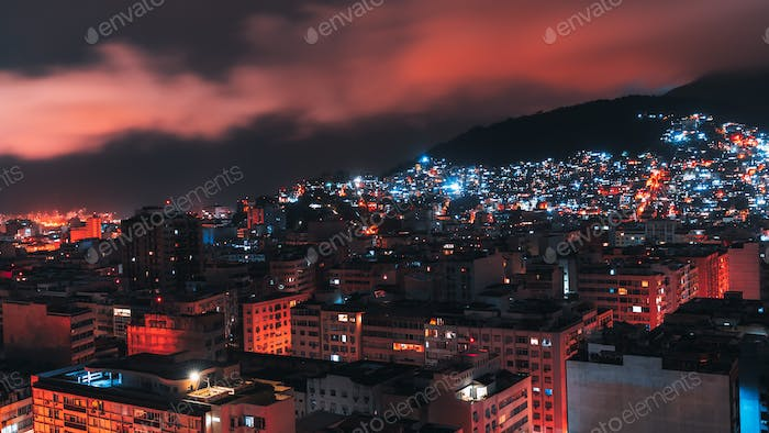 Night long exposure cityscape of Rio