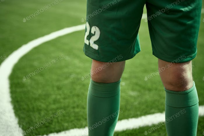 Thq legs of soccer football player