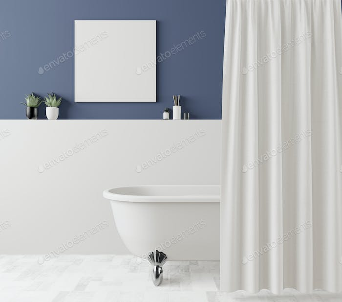 The bathtub and the picture frame are attached to the wall.