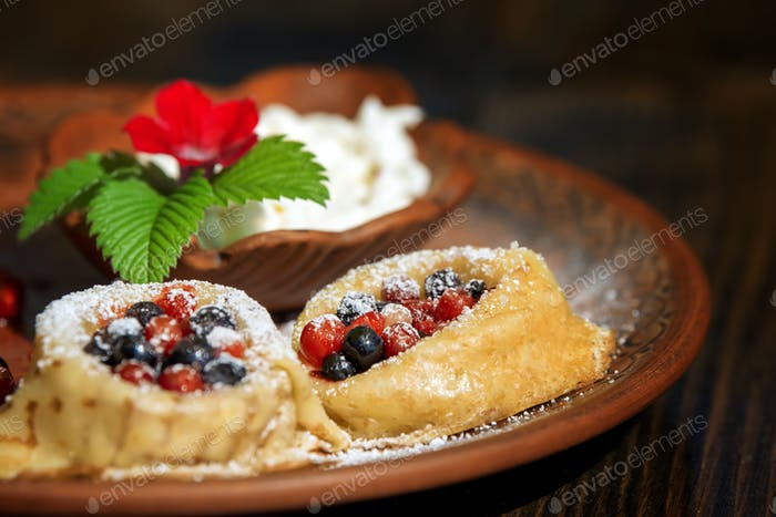 Pancakes,crepe with berry fruit