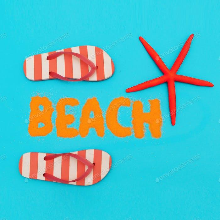 Beach mood. vacation time. Minimal art set