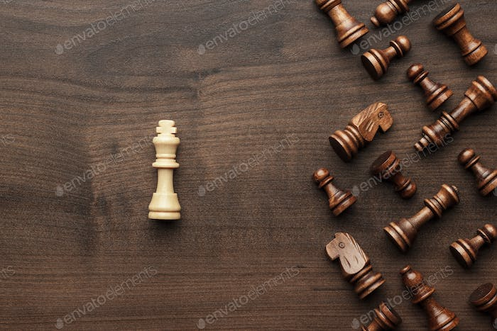 Chess Uniqueness Concept Over Grey Background