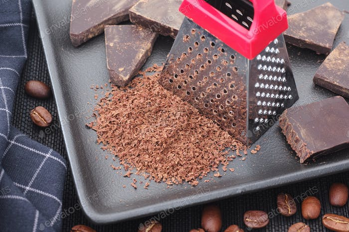 Grated chocolate and coffee beans