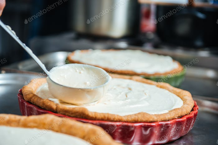 Cooking process of pie with cream