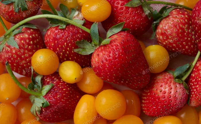 The vivid color of strawberries and tomatoes
