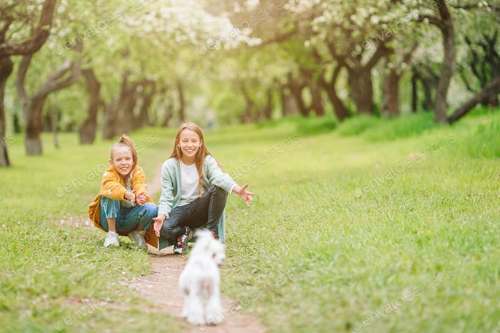 Little smiling girls playing and hugging puppy in the park