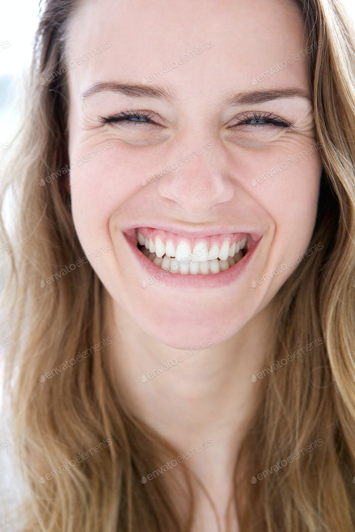 Woman laughing with joy