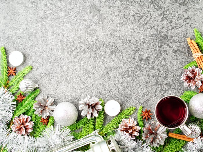 Christmas and Happy New Year background with tea. Top view, copy