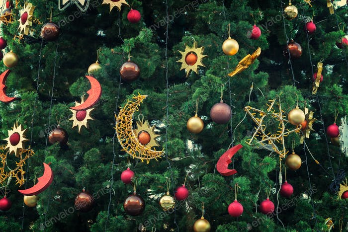 Christmas decoration: balls and stars on the Christmas tree
