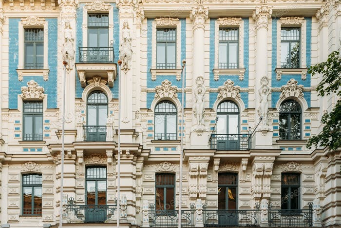 Riga, Latvia. Facade Of Art Nouveau Building Designed by Mikhail