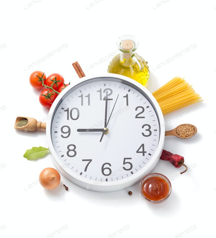 wall clock and food herbs and spices