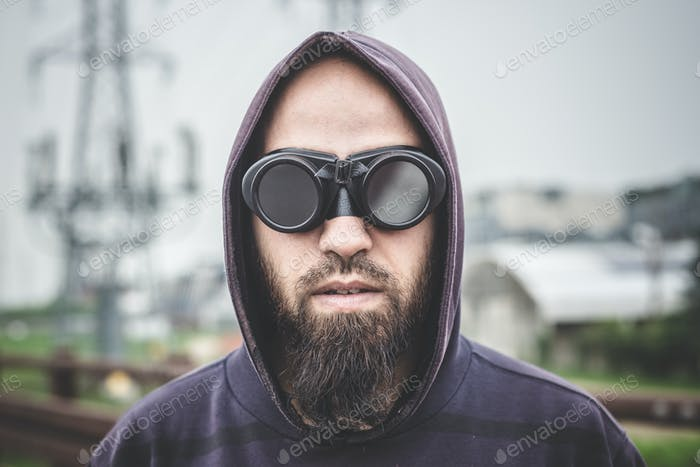 man with aviator glasses