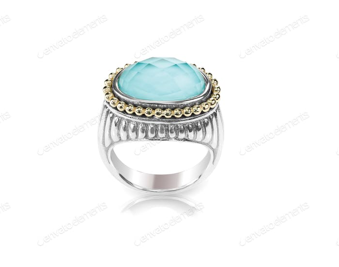 Turquoise silver fashion ring cushion cut