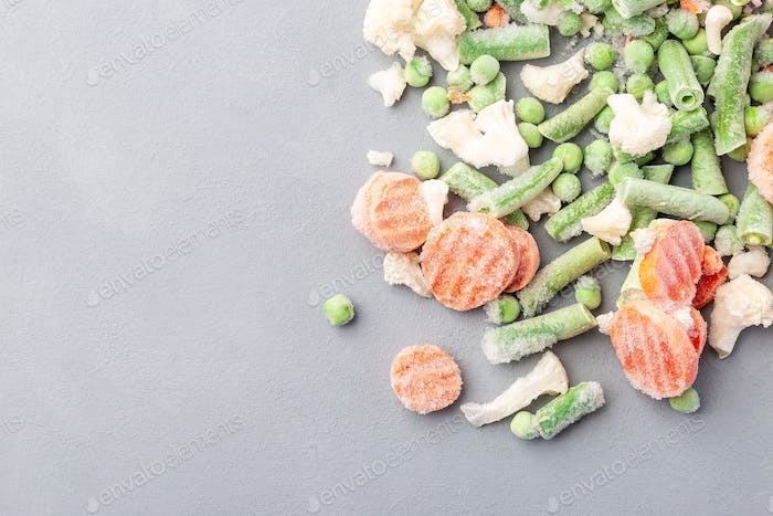 Frozen vegetables on table