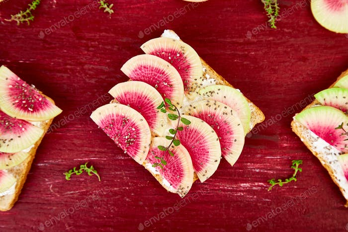 Toasts with radish