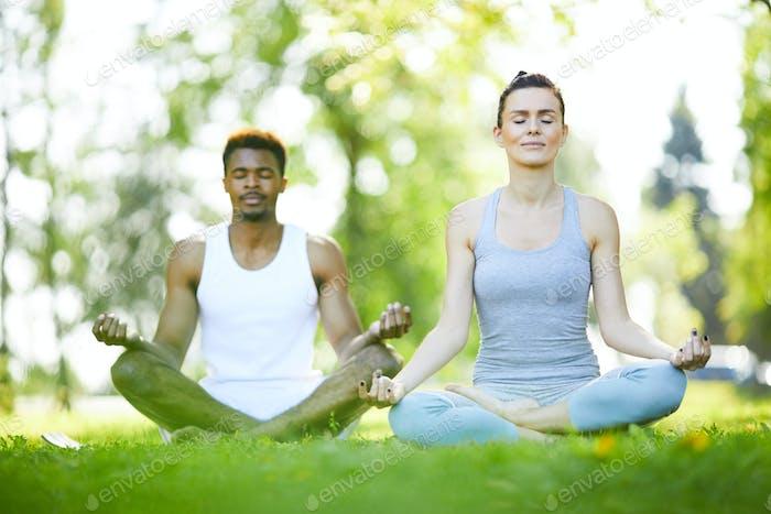 Junge Mann und Frau praktizieren Yoga im Freien
