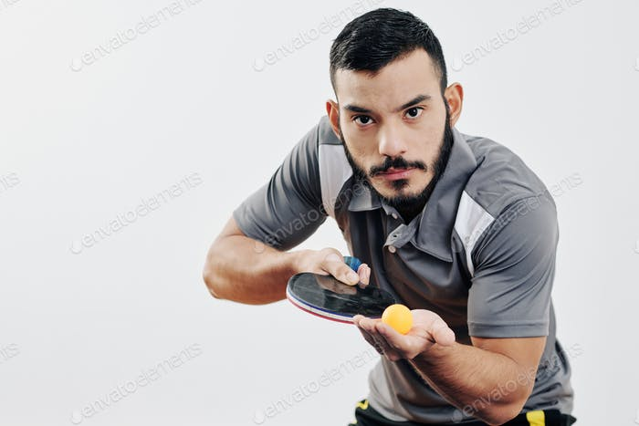 Hispanic table tennis player