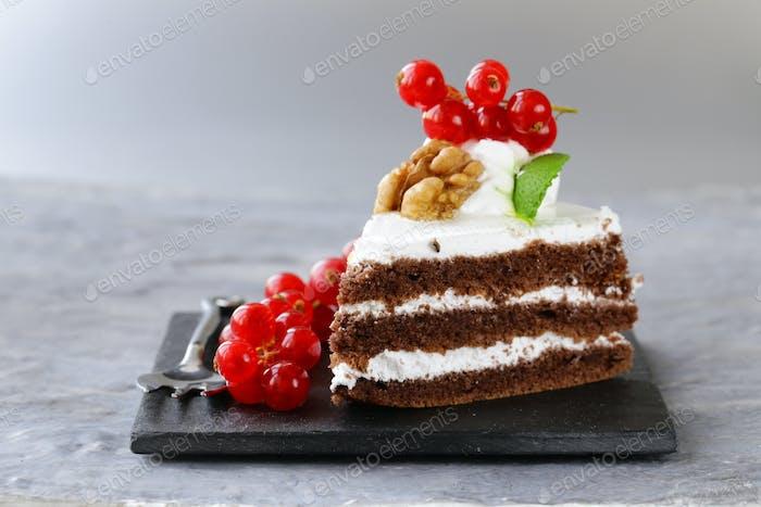 Dessert Piece Of Cake With Cream