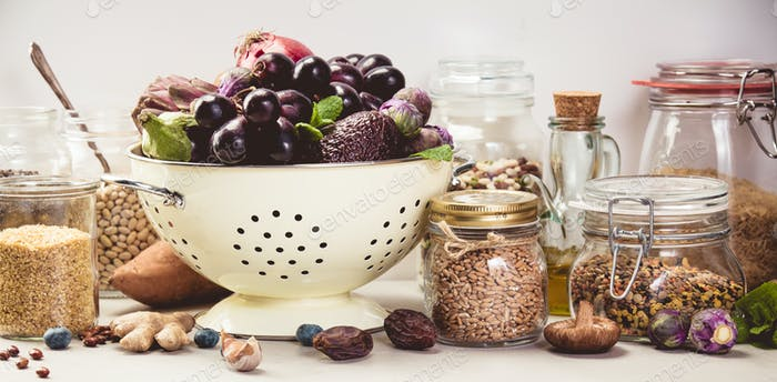 Healthy food concept on white background - space for text