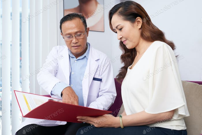 Woman at cosmetic surgery clinic