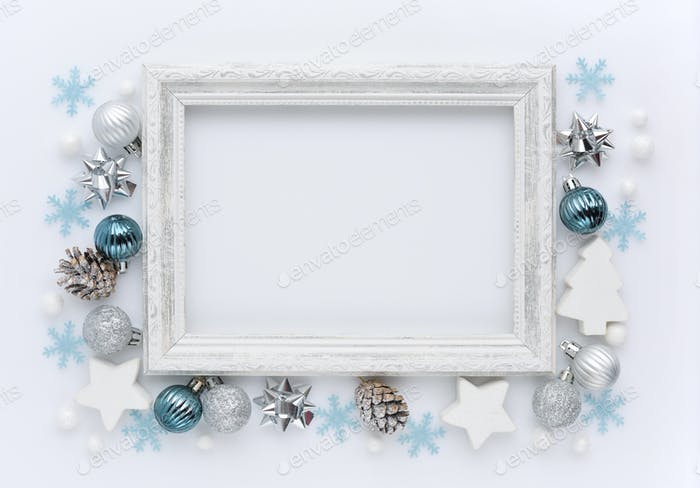 Photo frame, christmas decorations on white background.
