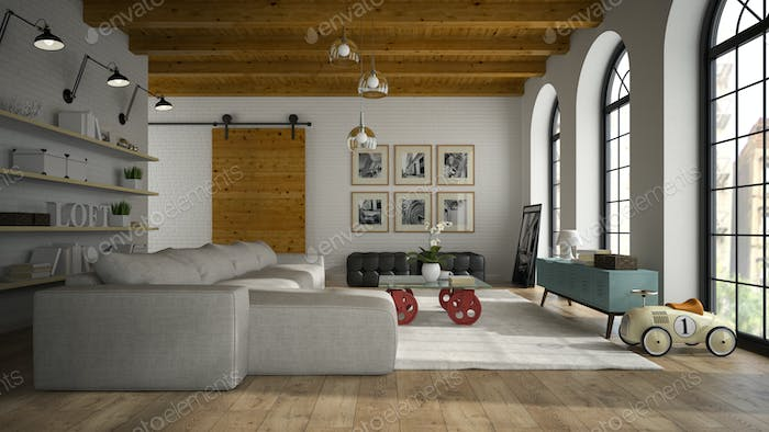 Thumbnail for Interior of modern design loft with toy car 3D rendering