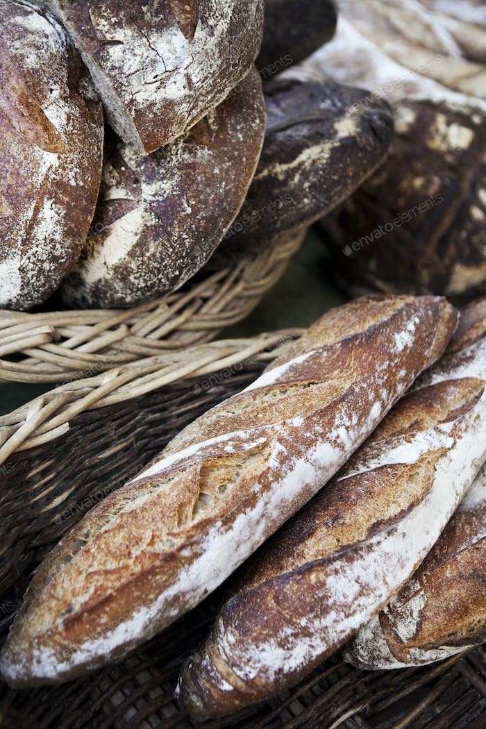 Close up of rustic breads in a bakery