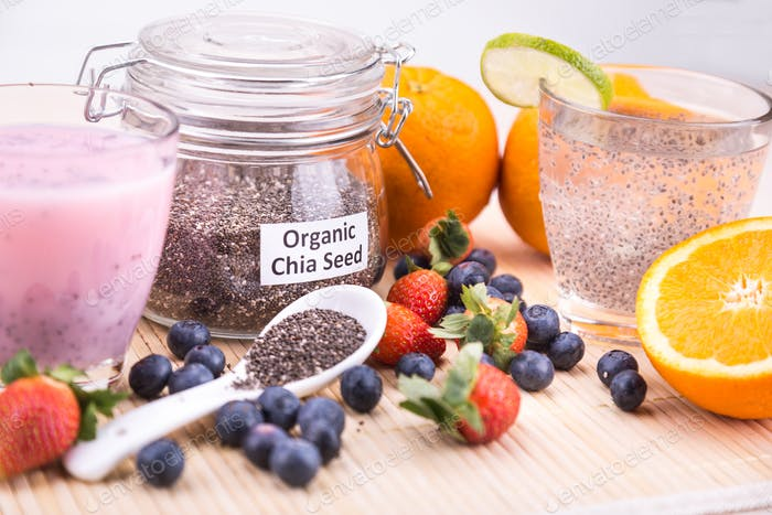 Chia seeds with fresh fruits juice, healthy nutritious anti-oxid