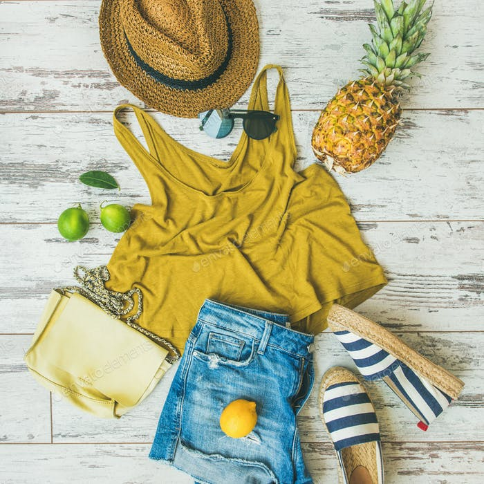 Colorful summer fashion outfit flat-lay over pastel background, square crop