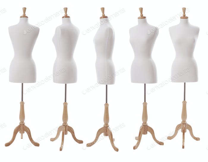 Dress Form at Various Angles Isolated on White Background