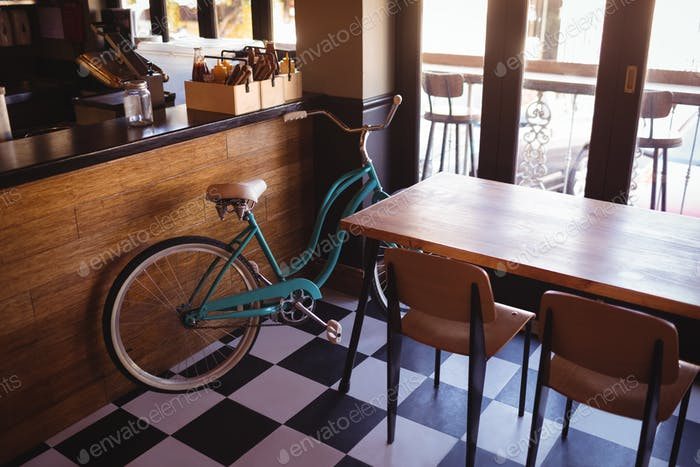 Bicycle at counter in restaurant
