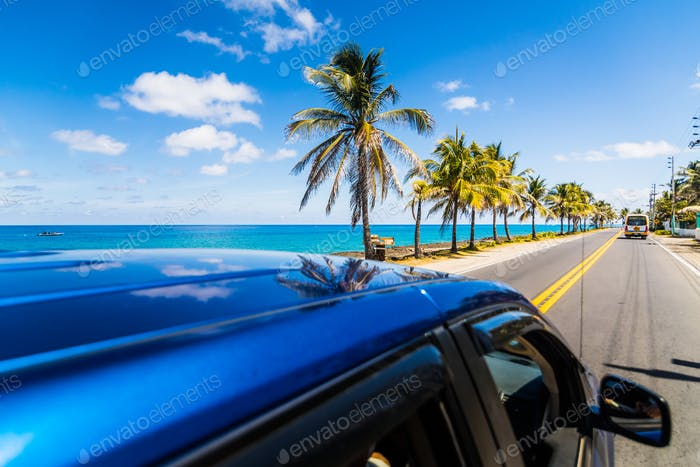 View from above a car in Caribbean San-Andres island.