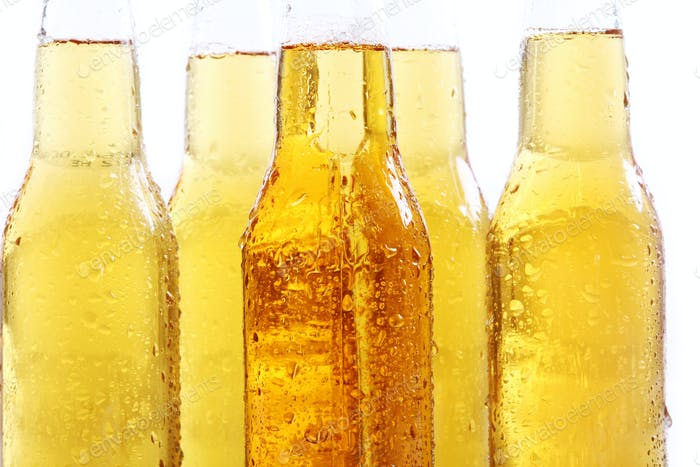 Bottles of cold and fresh beer.