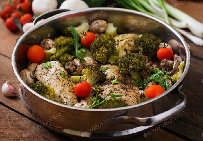 Chicken fillet with vegetables steamed. Dietary menu. Proper nutrition.