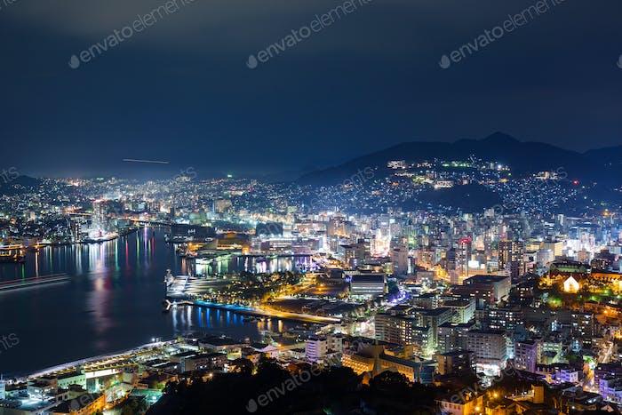 Nagasaki city of Japan at night