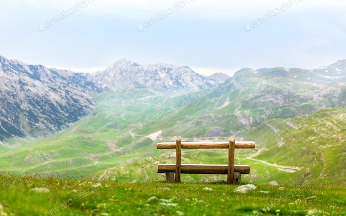 Bench in mountains