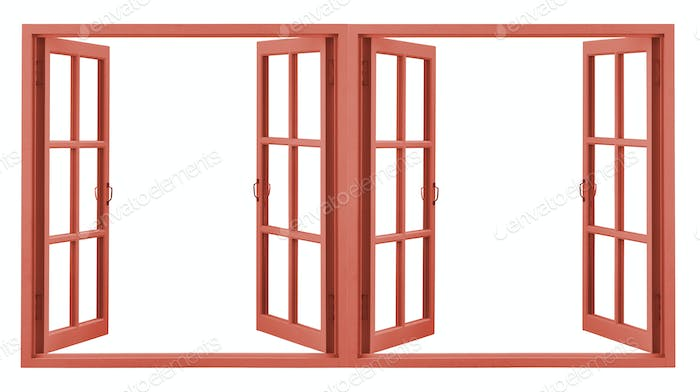 red window frame isolated