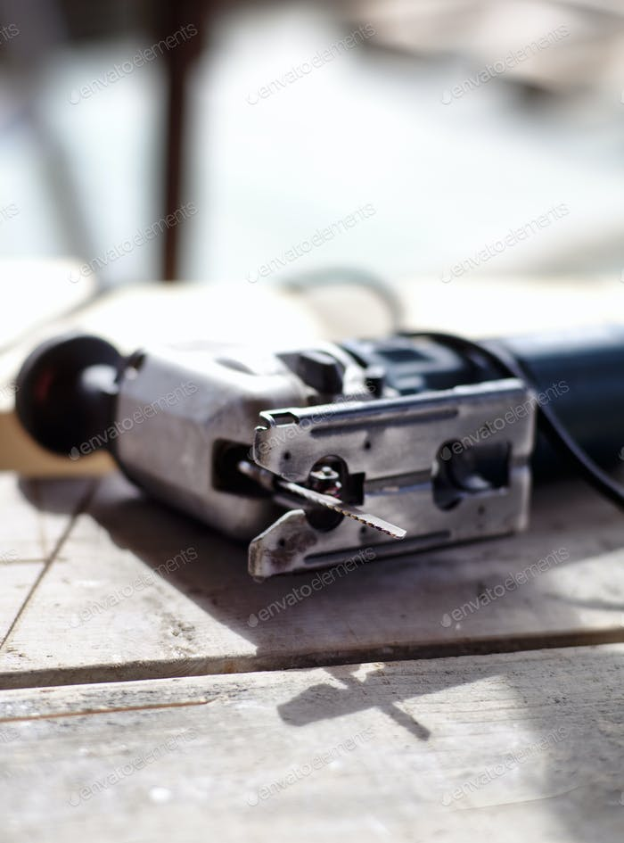 Close-up of work tool at construction site